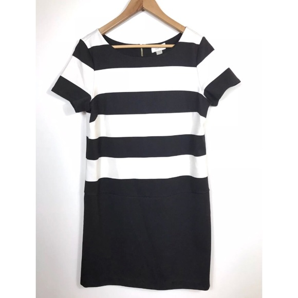 3d58a4be9e3 LOFT Dresses   Skirts - Ann Taylor LOFT Black White Striped Shift Dress 8